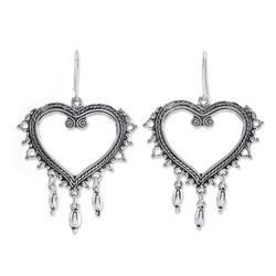 Sterling silver heart earrings, 'Heart of Frida'