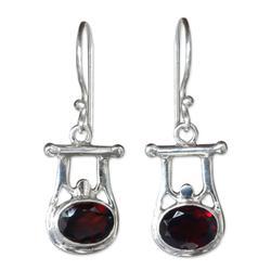 Garnet dangle earrings, 'Honor'