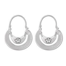 'Floral Crescent' - Women's Floral Sterling Silver Hoop Earrings