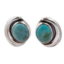Sterling silver button earrings, 'Blue Moon'