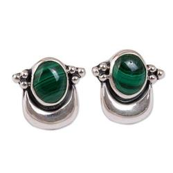 'Healing Crescent' - Fair Trade Sterling Silver and Malachite Earrings