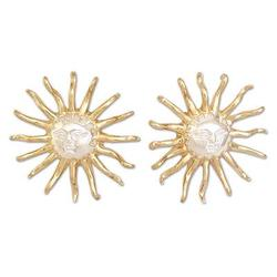 Gold plated button earrings, 'Majesty of the Sun'