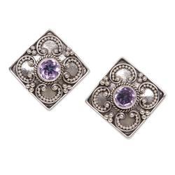 Amethyst button earrings, 'Mystical Flower'