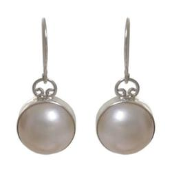 Pearl dangle earrings, 'White Moon'