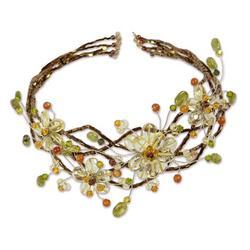 'Garland' - Hand Made Floral Carnelian and Quartz Choker Necklace
