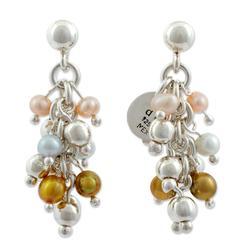Pearl cluster earrings, 'Pearls Dance in the Aztec Sun'