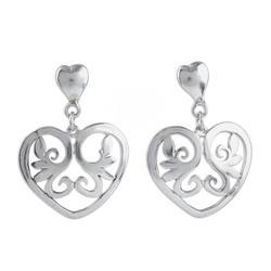 'Eternal Love' - Heart Shaped Sterling Silver Dangle Earrings