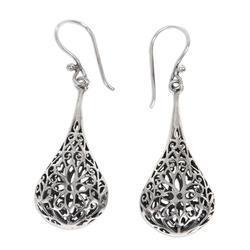 Sterling silver flower earrings, 'Floral Reign'