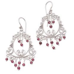 Garnet chandelier earrings, 'Smiling Clown'