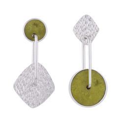 'Opposites Attract' - Unique Modern Sterling Silver Dangle Serpentine Ea