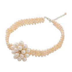 Pearl choker, 'Pink Romance' - Bridal Pearl Choker Necklace