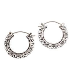 Sterling silver hoop earrings, 'Balinese Lace'