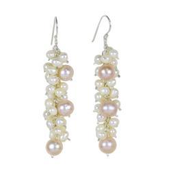 Pearl cluster earrings, 'Pink Cluster' - Fair Trade Pearl Earrings