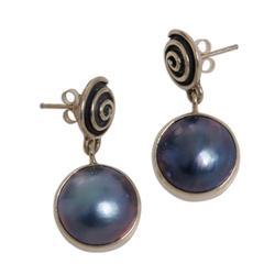 Pearl dangle earrings, 'Hypnotic Blue'