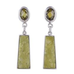 'Fortress' - Hand Made Serpentine Dangle Earrings