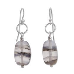 Opal dangle earrings, 'Secrets'