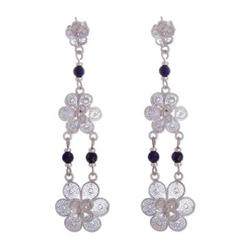 'Garlands' - Fair Trade Floral Silver Dangle Lapis Lazuli Earrings