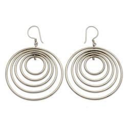 Sterling silver dangle earrings, 'Five Haloes'