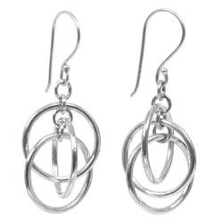 Sterling silver dangle earrings, 'Ring Ring'