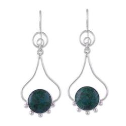 'Andean Moon' - Chrysocolla and Silver Dangle Earrings