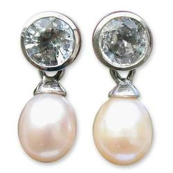 'Halo Light' - Pearl and Topaz Drop Earrings