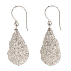 Sterling silver dangle earrings, 'Moon Weave'