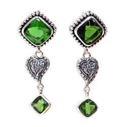 Sterling silver drop earrings, 'Beautiful Heart'