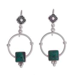 Chrysocolla dangle earrings, 'Flowers, Hugs and Presents'