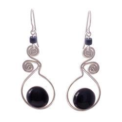 Obsidian dangle earrings, 'Pendulum of Time'