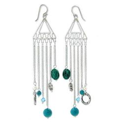 Pearl and chrysocolla chandelier earrings, 'Trapeze'