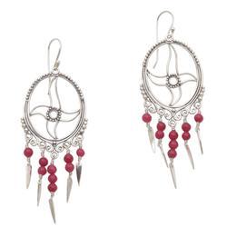 Agate chandelier earrings, 'Joyful Life'