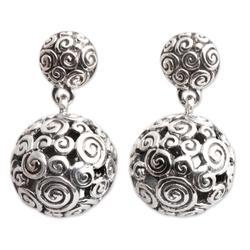 Earrings, 'Silver Twist'