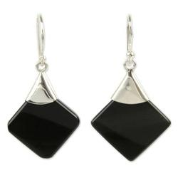 'Synthesis' - Protection Sterling Silver Dangle Obsidian Earrings