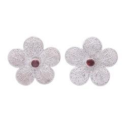 Garnet flower earrings, 'Love Blossom'