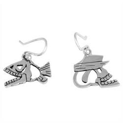 'Shiny Fish and Skull' - Day of the Dead Sterling Silver Dangle Ear