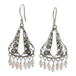 Pearl chandelier earrings, 'River Mountain'