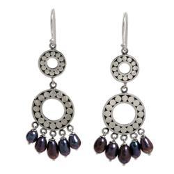 Pearl chandelier earrings, 'Eclipse in Black'