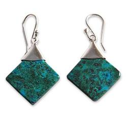 'Synthesis' - Peruvian Chrysocolla and Silver Earrings Handmade Jewelry