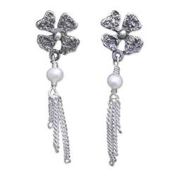 'Floral Night' - Floral Sterling Silver Pearl Earrings from Mexico