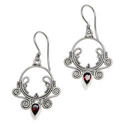 Garnet dangle earrings, 'Sundial'