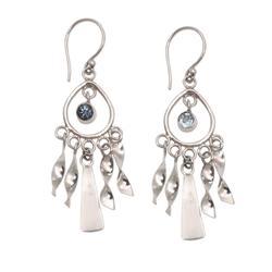 Topaz chandelier earrings, 'Blue Wind Chime'