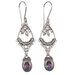 Amethyst and pearl flower earrings, 'Empress'