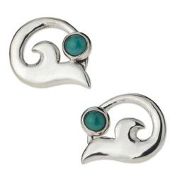 'Silver Lilies' - Fair Trade Women's Taxco Silver and Turquoise Earrings
