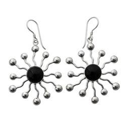 Onyx dangle earrings, 'Black Stars'