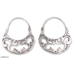 'Dancing River' - Silver Hoop Earrings Handmade in Mexico