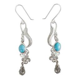 'Daydream' - Fair Trade Floral Earrings of Silver with Natural Turquoise