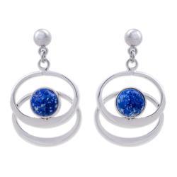 'Cuddle Me' - Handcrafted Women's Modern Lapis Lazuli Dangle Earrings