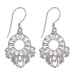 Sterling silver flower earrings, 'Fantasy'