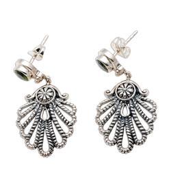 Peridot dangle earrings, 'Balinese Fan'