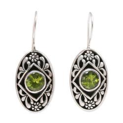 Peridot drop earrings, 'Desire'